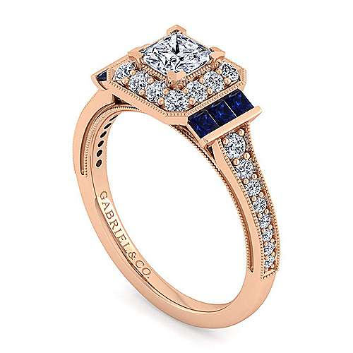 Vintage Inspired 14K Rose Gold Princess Halo Diamond and Sapphire Engagement Ring