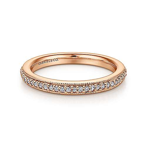 Vintage Inspired 14K Rose Gold Prong Set Diamond Eternity Band