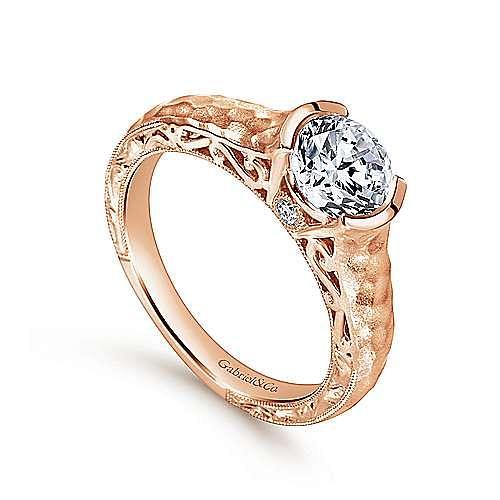 Vintage Inspired 14K Rose Gold Round Diamond Engagement Ring