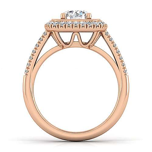 Vintage Inspired 14K Rose Gold Round Double Halo Diamond Engagement Ring
