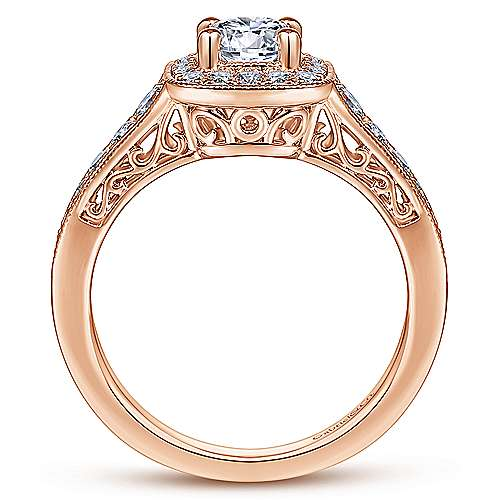 Vintage Inspired 14K Rose Gold Round Halo Complete Diamond Engagement Ring