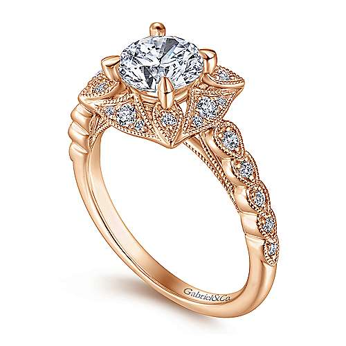 Vintage Inspired 14K Rose Gold Round Halo Diamond Engagement Ring
