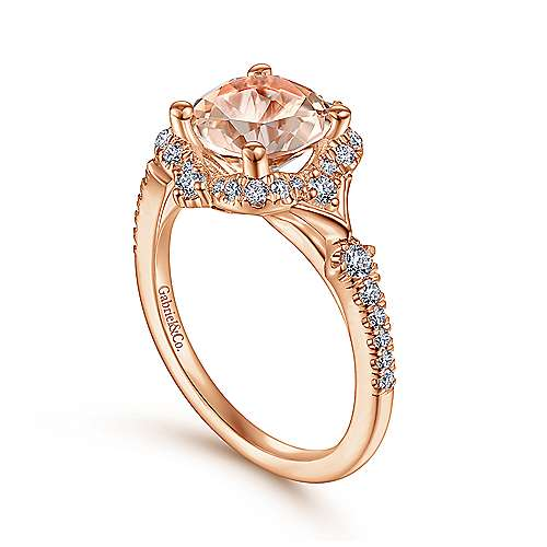 Vintage Inspired 14k Rose Gold Round Halo Morganite And Diamond Engagement Ring Er914411r8k44jj Csmo Gabriel Co