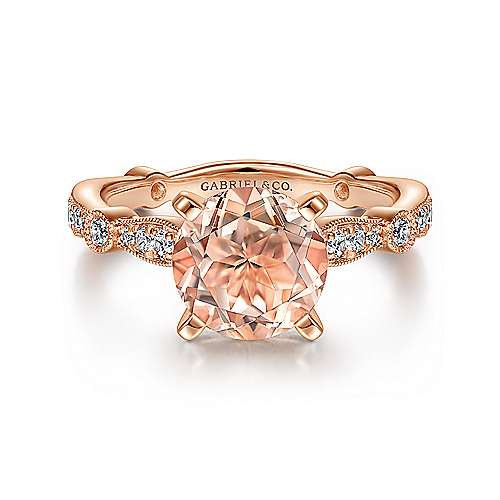 Vintage Inspired 14K Rose Gold Round Morganite and Diamond Engagement Ring