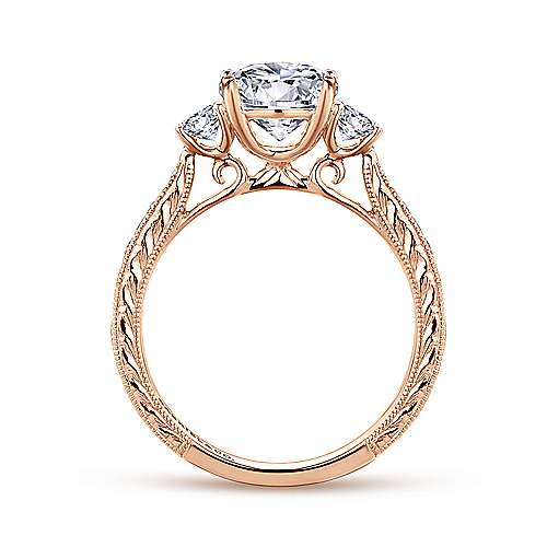 Vintage Inspired 14K Rose Gold Round Three Stone Diamond Engagement Ring