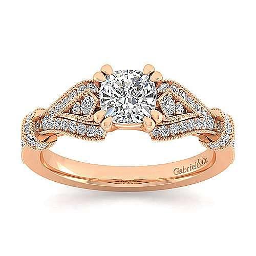 Vintage Inspired 14K Rose Gold Split Shank Cushion Cut Diamond Engagement Ring