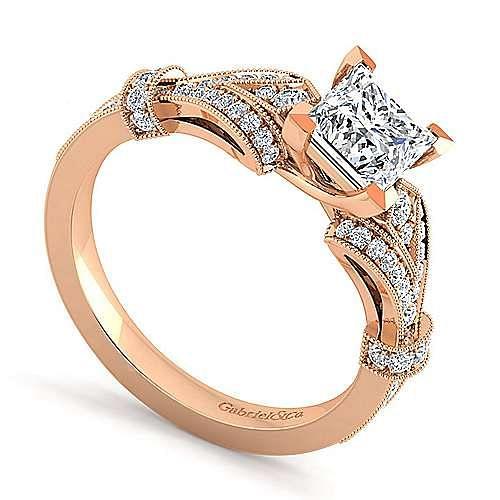Vintage Inspired 14K Rose Gold Split Shank Princess Cut Diamond Engagement Ring
