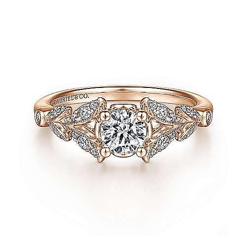 Vintage Inspired 14K Rose Gold Split Shank Round Diamond Engagement Ring