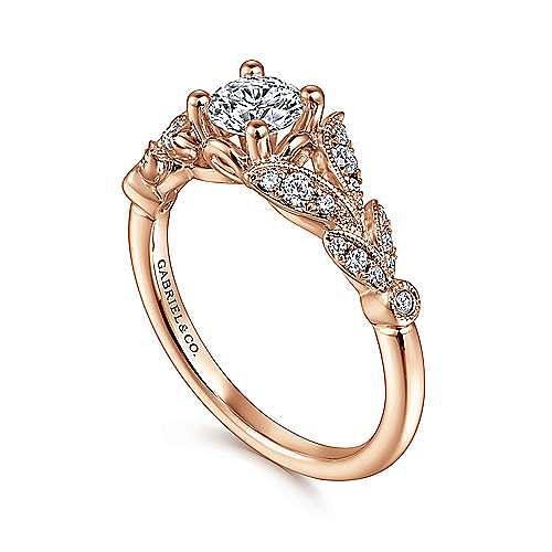 Vintage Inspired 14k Rose Gold Split Shank Round Diamond Engagement Ring Er14662r2k44jj Gabriel Co