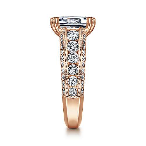 Vintage Inspired 14K Rose Gold Wide Band Emerald Cut Diamond Engagement Ring