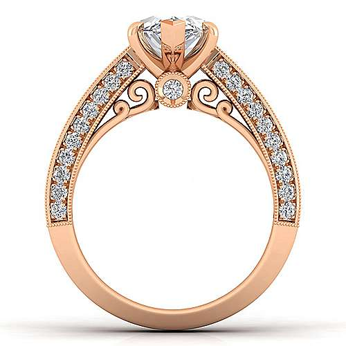 Vintage Inspired 14K Rose Gold Wide Band Marquise Shape Diamond Engagement Ring
