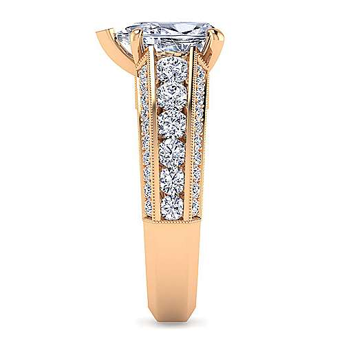 Vintage Inspired 14K Rose Gold Wide Band Pear Shape Diamond Engagement Ring