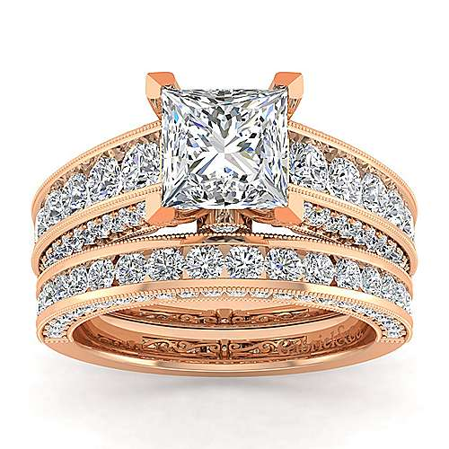 Vintage Inspired 14K Rose Gold Wide Band Princess Cut Diamond Engagement Ring
