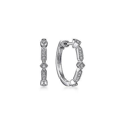 Vintage Inspired 14K White Gold 20mm Classic Diamond Hoop Earrings