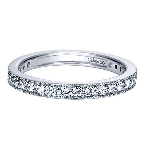 Vintage Inspired 14K White Gold Channel Prong Set Diamond Eternity Band