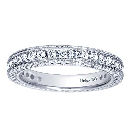 Vintage Inspired 14K White Gold Channel Set Diamond Eternity Band with Engraving