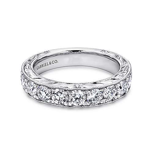 Vintage Inspired 14K White Gold Channel Set Diamond Wedding Band with Engraving