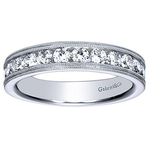 Vintage Inspired 14K White Gold Channel Set Diamond Wedding Band