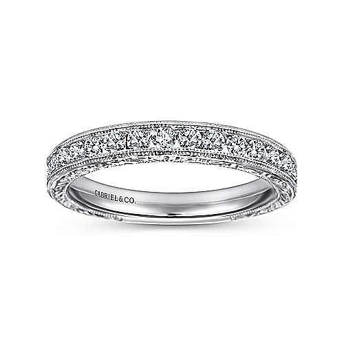 Vintage Inspired 14K White Gold Channel Set Diamond Wedding Band