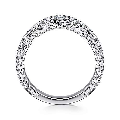 Vintage Inspired 14K White Gold Curved Channel Set Diamond Wedding Band with Engraving