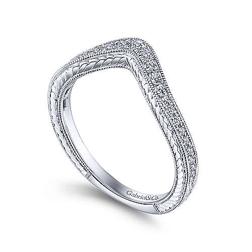 Vintage Inspired 14K White Gold Curved Diamond Wedding Band