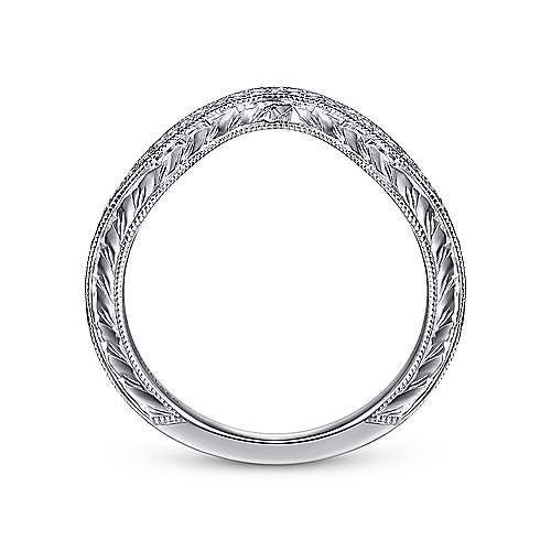 Vintage Inspired 14K White Gold Curved Diamond Wedding Band