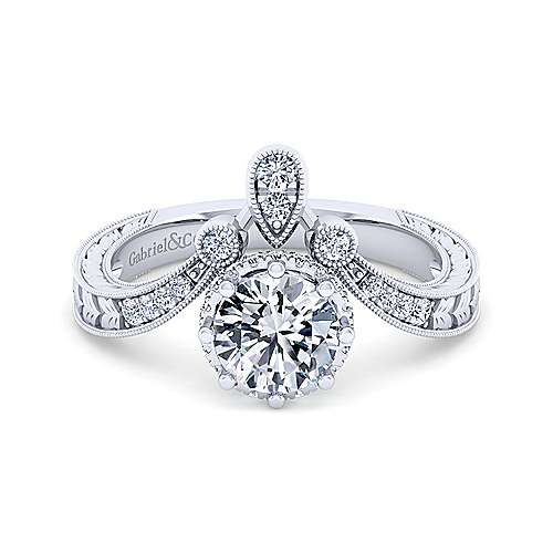 Vintage Inspired 14K White Gold Curved Round Diamond Engagement Ring