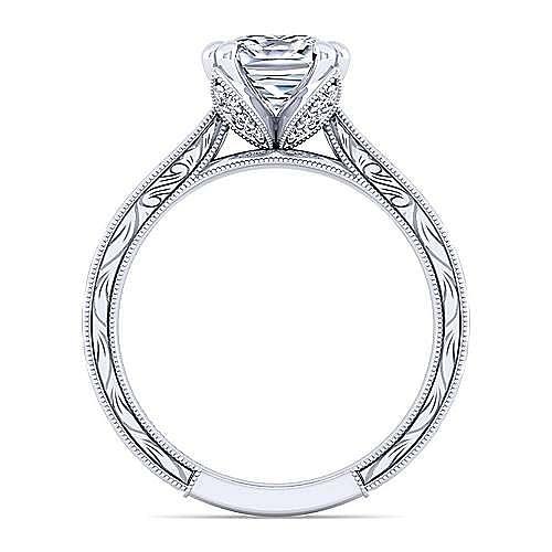Vintage Inspired 14K White Gold Cushion Cut Diamond Engagement Ring