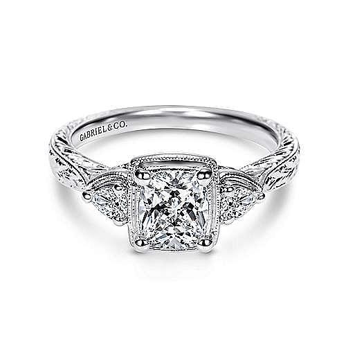 Vintage Inspired 14K White Gold Cushion Cut Three Stone Diamond Engagement Ring
