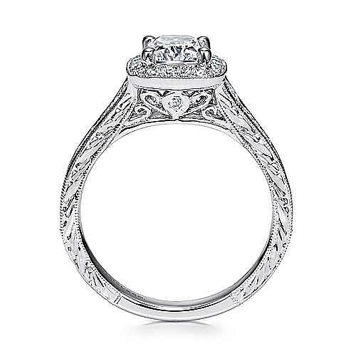 Vintage Inspired 14K White Gold Cushion Halo Diamond Engagement Ring
