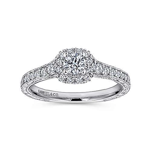 Vintage Inspired 14K White Gold Cushion Halo Round Diamond Engagement Ring
