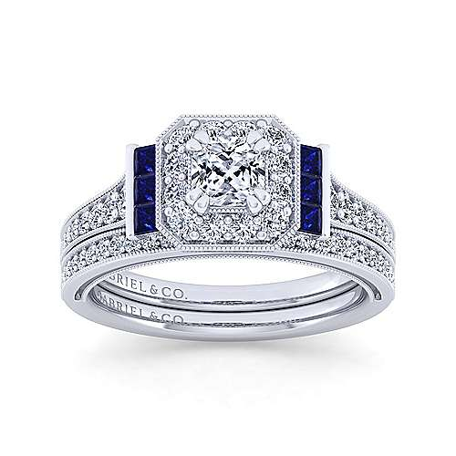 Vintage Inspired 14K White Gold Cushion Halo Sapphire and Diamond Engagement Ring