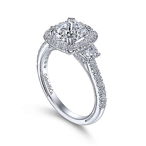 Vintage Inspired 14K White Gold Cushion Three Stone Halo Diamond Engagement Ring