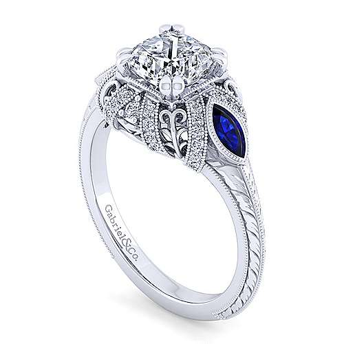 Vintage Inspired 14K White Gold Cushion Three Stone Halo Diamond and Sapphire Engagement Ring