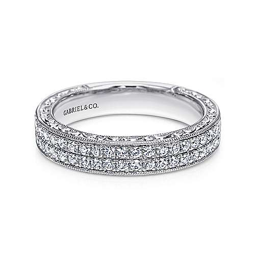Vintage Inspired 14K White Gold Diamond Anniversary Band with Hand Engraving