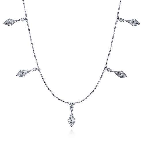 Vintage Inspired 14K White Gold Diamond Drop Necklace