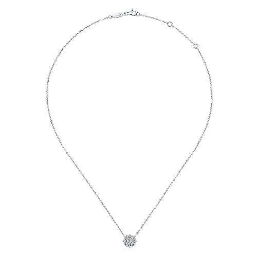 Vintage Inspired 14K White Gold Diamond Pendant Necklace