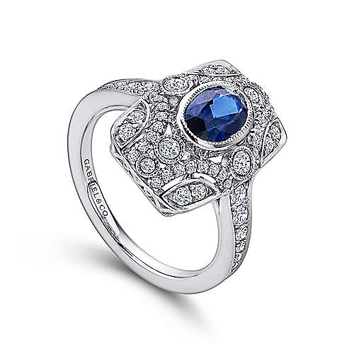 Vintage Inspired 14K White Gold Diamond Ring with Oval Sapphire Center