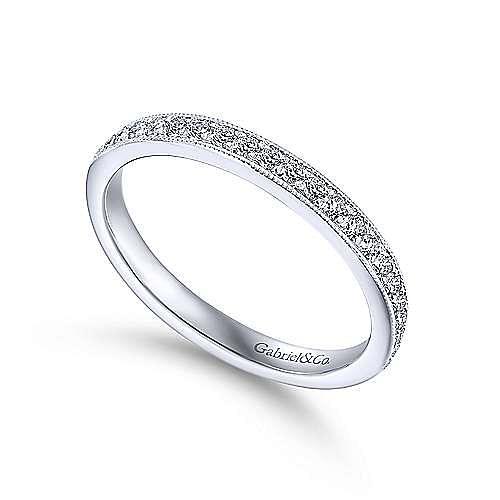 Vintage Inspired 14K White Gold Diamond Wedding Band