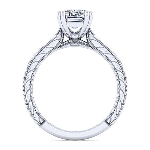 Vintage Inspired 14K White Gold Emerald Cut Diamond Engagement Ring