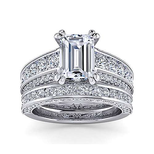 Vintage Inspired 14K White Gold Emerald Cut Wide Band Diamond Engagement Ring
