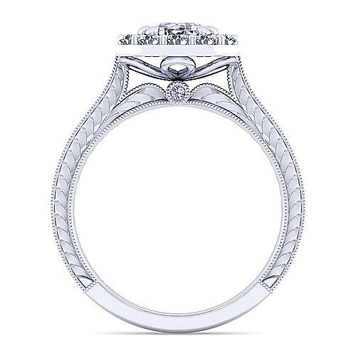 Vintage Inspired 14K White Gold Emerald Halo Diamond Engagement Ring