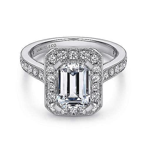 Vintage Inspired 14K White Gold Emerald Halo Diamond Engagement Ring
