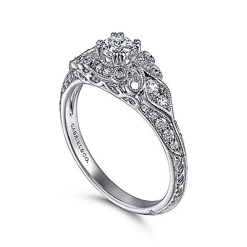 Vintage Inspired 14K White Gold Fancy Halo Round Diamond Engagement Ring