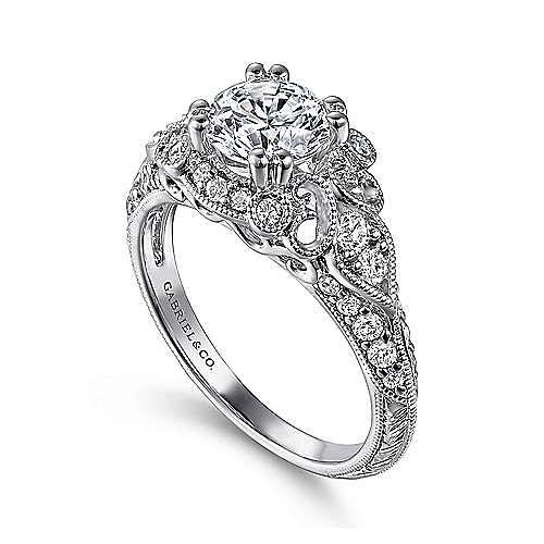 Vintage Inspired 14K White Gold Fancy Halo Round Diamond Engagement Ring
