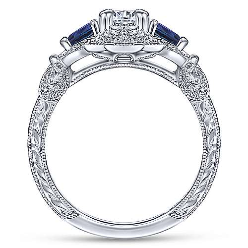 Vintage Inspired 14K White Gold Fancy Three Stone Halo Round Sapphire and Diamond Engagement Ring