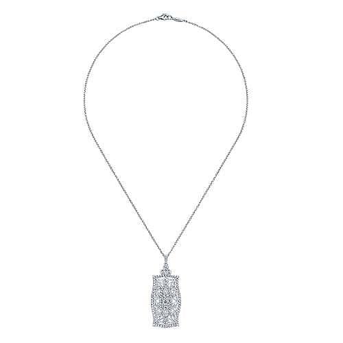 Vintage Inspired 14K White Gold Filigree Diamond Pendant Necklace