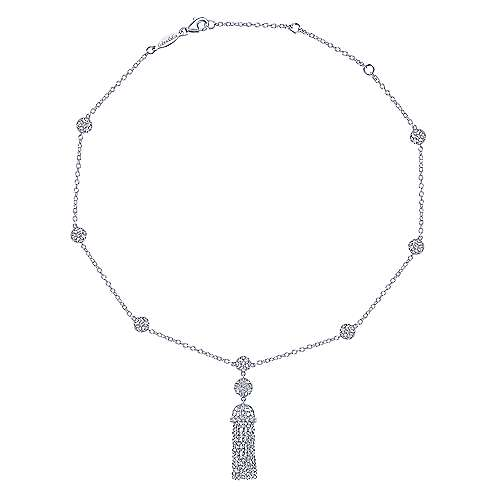 Vintage Inspired 14K White Gold Filigree Station Chain Tassel Necklace with Diamond Accents