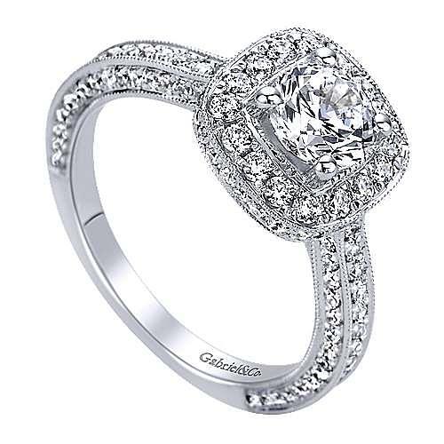 Vintage Inspired 14K White Gold Halo Diamond Engagement Ring