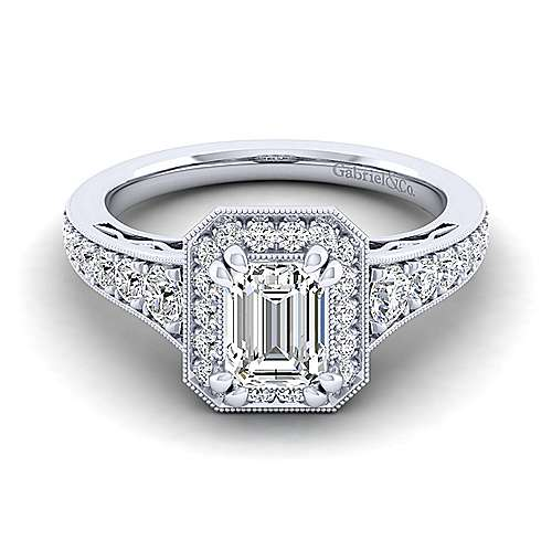Vintage Inspired 14K White Gold Halo Emerald Cut Diamond Engagement Ring